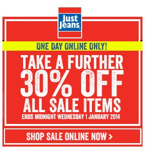 one day online only! take a further 30% off all sale items - ends midnight wednesday 1 January 2014 - shop sale online now >