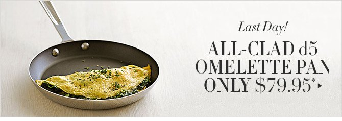 Last Day! ALL-CLAD d5 OMELETTE PAN ONLY $79.95*