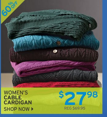 Shop Women's Cable Cardigan Sweater