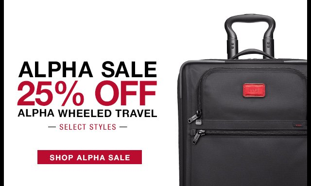 Alpha Sale 25% off - Alpha Wheeled Travel - Shop Now