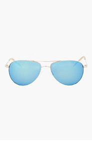 OLIVER PEOPLES Gold & Green mirror BENEDICT aviators for men