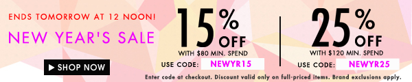 New Year's day sale: 25% off min. spend $120