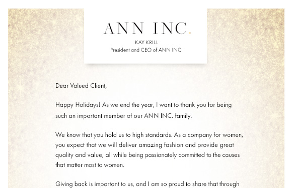 Ann Taylor: A Note From Our CEO, Kay Krill   Milled