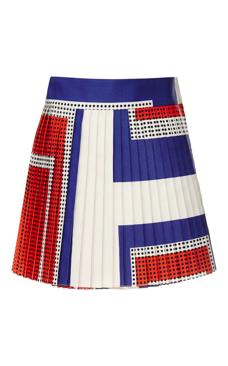 Giant Graphic Dots Pleated Mini Wrap Skirt
