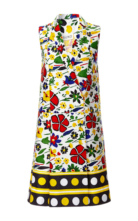 Abstract Floral Kanga Lapel Wrap Dress