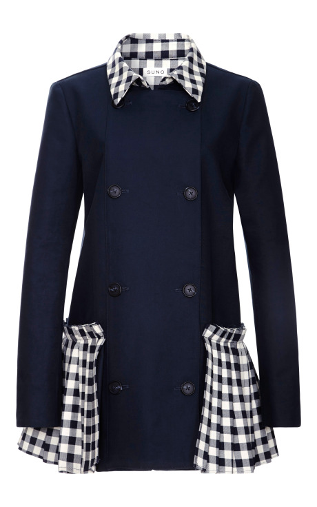 Double Face Checks Pleated Hem Trench