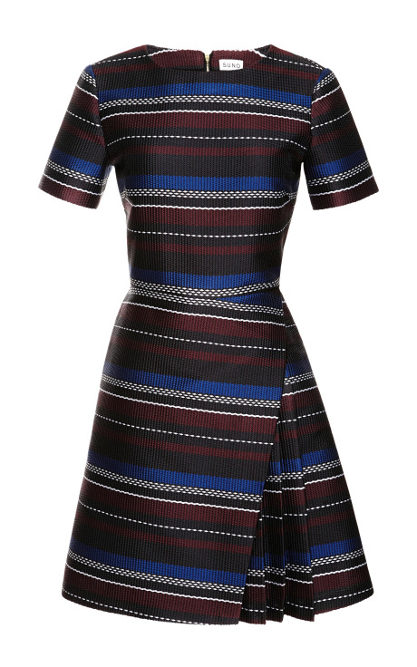 Woven Stripes Layered Mini Dress