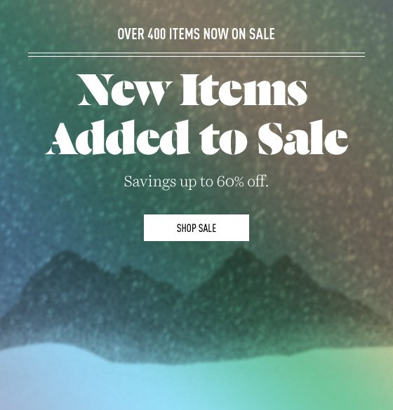 New items added to Winter Sale