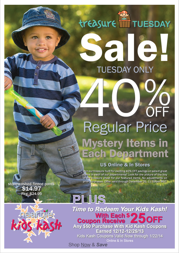 40%  Off Selected Transitions 2014 Styles! Treasure Tuesday-Today Only, Giant  Semi-Annual Sale Up to 60% Off All Clearance + Time to Redeem Kid Kash