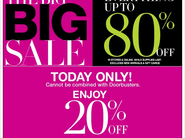 Save 20% Off $50 or More + The Big Big Sale!