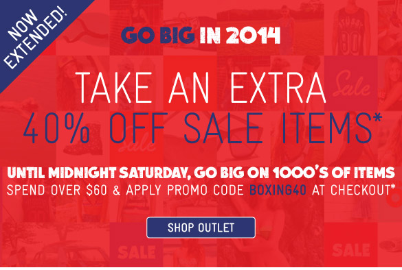 Take an extra 40% off sale items* - Shop now!