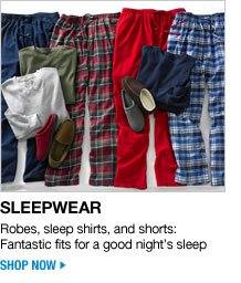 sleepwear - robes, sleep shirts, and shorts: fantastic fits for a good night's sleep - shop now
