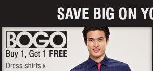 Buy 1, Get 1 FREE dress shirts.