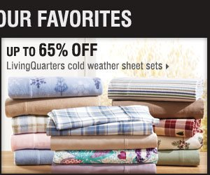 Up to 65% off LivingQuarters cold weather  sheet sets.