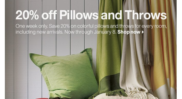 20% off Pillows and Throws