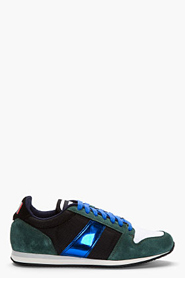 AMI Forest Green Suede Metallic-Trimmed Sneakers for men