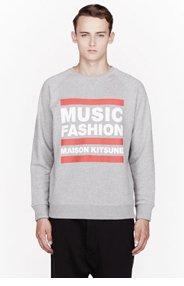 MAISON KITSUNE Grey Music Fashion print sweatshirt for men