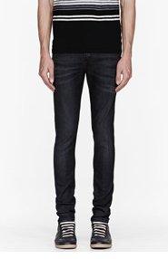 NEIL BARRETT Faded black super skinny jeans for men