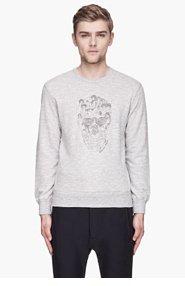 ALEXANDER MCQUEEN Heather grey embroidered Muse skull sweatshirt for men