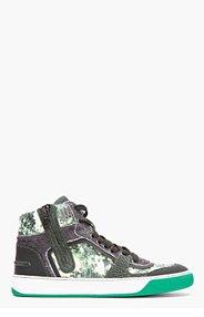 LANVIN Green Snakeskin Multi-Texture High-Top sneakers for men