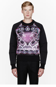 JUUN.J Black Neoprene layered digital hologram print sweatshirt for men