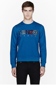 KENZO Blue Logo-embroidered sweatshirt for men