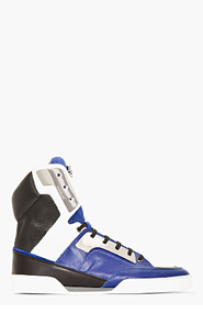 VERSACE Blue Tricolor LEather Metal-Plated Sneakers for men