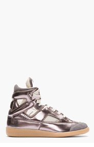 MAISON MARTIN MARGIELA SSENSE Exclusive Pewter leather Replica high-tops for men