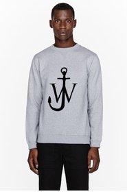 J.W.ANDERSON Heather grey velvet logo appliqu� sweatshirt for men