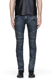 BALMAIN Bule clean-cut biker jeans for men