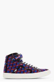 PIERRE HARDY Blue Velvet cube Print High-Top Sneakers for men