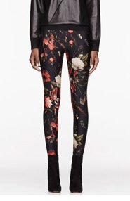GIVENCHY Red & black Floral Print Leggings for women