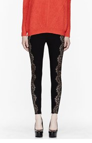 STELLA MCCARTNEY Black lace-paneled Stretch leggings for women