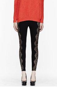 STELLA MCCARTNEY Black lace-paneled Stretch leggings for women