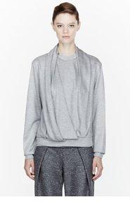 ALEXANDER WANG Heather grey Jersey Draped Neck Sweatshirt for women