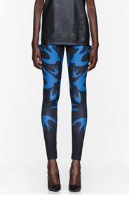MCQ ALEXANDER MCQUEEN Royal blue Swallow Print Leggings for women