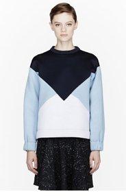 STELLA MCCARTNEY Blue colorblocked neoprene sweatshirt for women