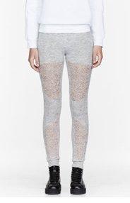 MM6 MAISON MARTIN MARGIELA Oyster grey open-knit Leggings for women