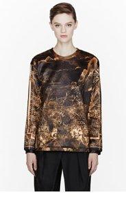 BALMAIN Gold Printed Crewneck sweater for women