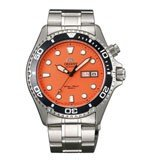 Orient EM6500AM Men's Ray Stainless Steel Orange Dial Automatic Dive Watch