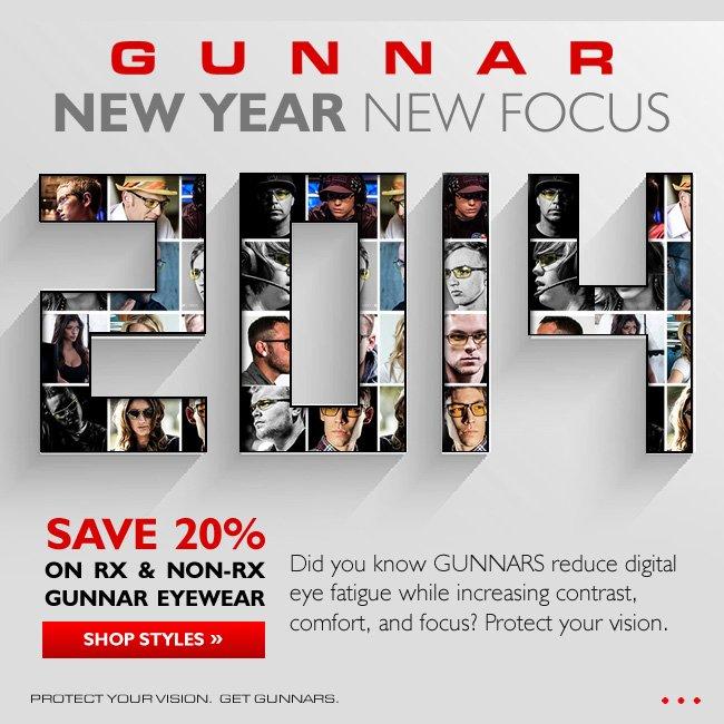 New Year, Better Sight! Save 20% on Prescription & Non-Prescription Gunnar Eyewear