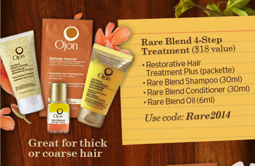 Great  for thick or coarse hair Rare Blend 4 Step Treatment 18 dollars value  Restorative Hair Treatment Plus packette rare Blend Shampoo 30ml Rare  Blend Conditioner 30ml Rare Blend Oil 6ml Use code Rare2014