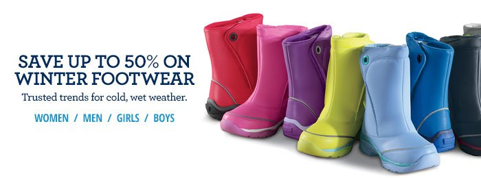 save up to 50% on winter footwear