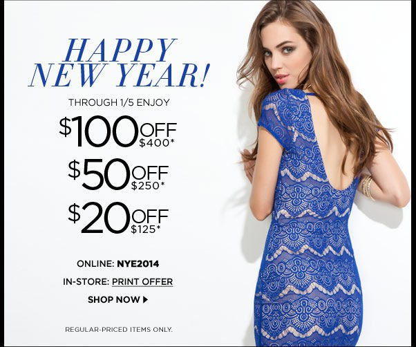 Happy 2014! Take up to $100 OFF
