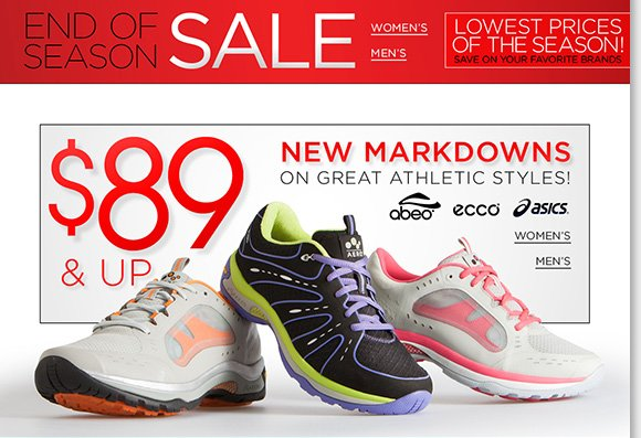 Find new markdowns on great athletic styles from your favorite brands! Plus, save on great styles from UGG Australia, Dansko, Raffini and more during our End of Season Sale! Shop now for the best selection online and in stores at The Walking Company.