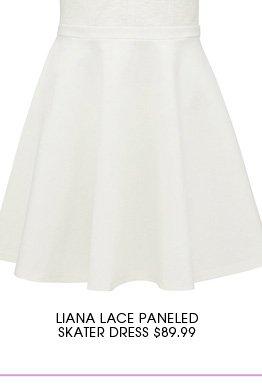 LIANA LACE PANELED SKATER DRESS
