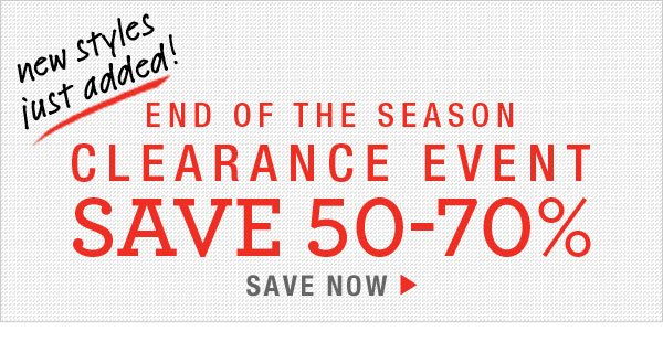 Save 50-70% on all Clearance Items
