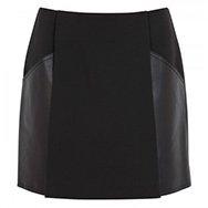 3.1 PHILLIP LIM - A-line leather trimmed twill skirt
