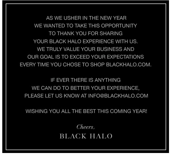Happy New Year from Black Halo