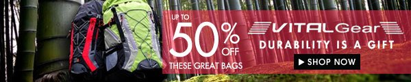 Up to 50% off VitalGear Bags!